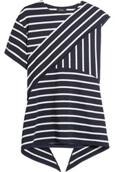 Goen J Asymmetric Striped Cotton Blend Top Navy