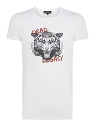 Dead Legacy Men's Black And White Tiger Graphic T Shirt White