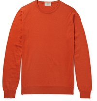 John Smedley Hatfield Sea Island Cotton Sweater Orange