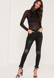 Missguided Highwaisted Frayed Hem Skinny Black Black