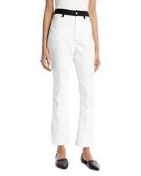 Rosetta Getty High Rise Skinny Flared Cropped Jeans W Contrast Pockets White