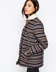 Lee Jeans Striped Cosy Jacket Navy