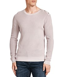 The Kooples Skull Button Shoulder Pearl Stitch Cotton Sweater Gray