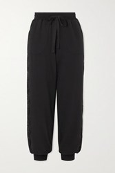I.D. Sarrieri After Hours Lace Paneled Stretch Cotton Blend Jersey Track Pants Black