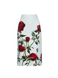 Dolce And Gabbana Rose Print Cady Pencil Skirt