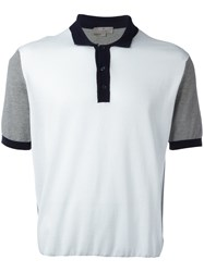 Canali Contrast Polo Shirt White