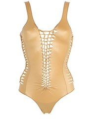 Pin Up Stars Agogoa Lace Shiny Lycra Bathing Suit