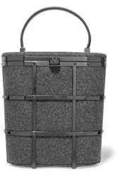Tory Burch Leather Trimmed Metal And Felt Mini Tote Charcoal