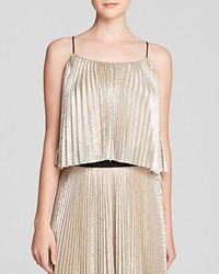 Abs By Allen Schwartz Crop Top Sleeveless Metallic Pleated Silver