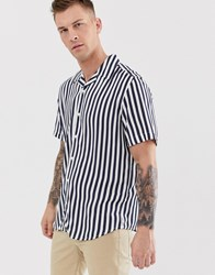 Only And Sons Navy Stripe Revere Collar Shirt In Regular Fit