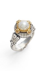 Konstantino Etched Sterling And Cultured Pearl Ring Silver Gold White