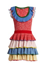 Alexander Mcqueen Tiered Ruffle Knitted Mini Dress Multi