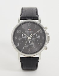 Tommy Hilfiger 1710381 Leather Watch In Faux Croc 44Mm Black