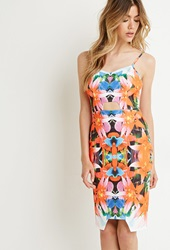 Forever 21 Tiger Mist Tropical Print Cutout Dress White Multi