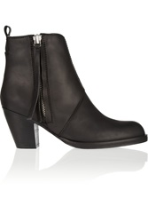 Acne Studios The Pistol Shearling Lined Leather Ankle Boots Black