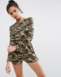 Asos Long Sleeve Playsuit In Camo Print With Contrast Tie Camo Multi