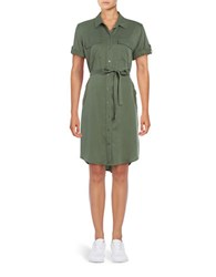 Lord And Taylor Belted Shirt Dress Green