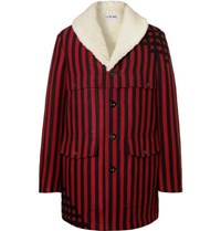 Loewe Shearling Lined Striped Wool And Silk Blend Jacquard Coat Red