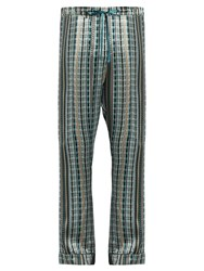 Meng Check Print Silk Satin Pyjama Trousers Multi