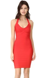 Herve Leger Adrienne Halter Dress Bright Poppy