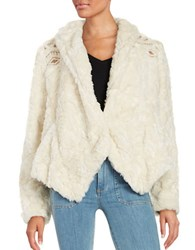 Free People Embroidered Faux Fur Coat Ivory