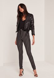 Missguided Black High Waisted Stripe Skinny Jeans