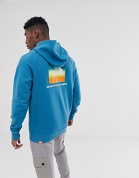 The North Face Raglan Red Box Hoodie In Blue