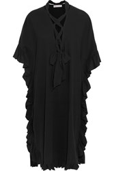 See By Chloe Ruffled Cotton And Linen Blend Midi Dress Black