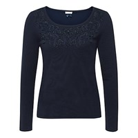 Jacques Vert Tape Detail Scoop Neck Jumper Navy