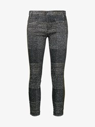 Haider Ackermann Lurex And Leather Skinny Trousers Silver Black Khaki