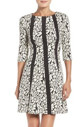 Gabby Skye Women's Floral Jacquard Fit And Flare Dress