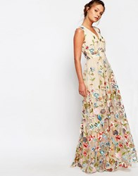 True Decadence All Over Embroidered Floral Maxi Dress Multi
