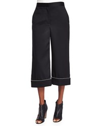 Alexander Wang Ball And Chain Cuff Wide Leg Cropped Pants Black