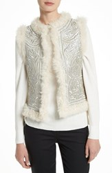 Tory Burch Women's Pacer Metallic Embroidered Genuine Shearling Vest