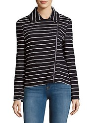Saks Fifth Avenue Red Cotton Blend Striped Moto Jacket Black White
