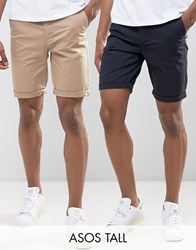 Asos Tall 2 Pack Slim Chino Shorts In Stone And Navy Save Navy Stone Multi