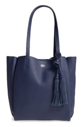 Vince Camuto Small Taja Leather Tote With Tassel Charm Blue Peacoat
