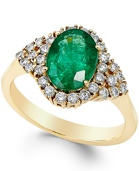 Macy's Emerald 1 3 4 Ct. T.W. And Diamond 3 8 Ct. T.W. Ring In 14K Gold Green