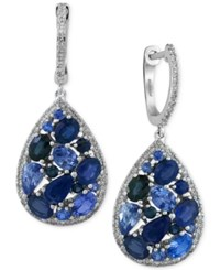 Effy Collection Effy Sapphire 3 7 8 Ct. T.W. And Diamond 2 5 Ct. T.W. Drop Earrings In 14K White Gold