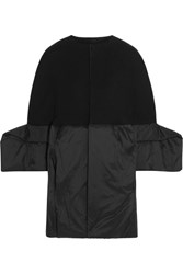 Rick Owens Wool Blend Gabardine And Shell Coat Black