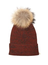 Yves Salomon Cashmere And Wool Blend Beanie Hat Burgundy