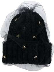 Ca4la Star Embellished Knitted Hat Black