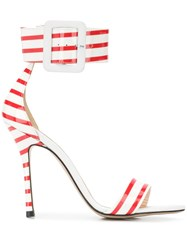 Marc Ellis Striped Stiletto Sandals White