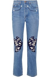 Bliss And Mischief Flutter Embroidered High Rise Straight Leg Jeans Mid Denim