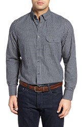 Nordstrom Men's Shop Classic Big And Tall Fit Plaid Flannel Sport Shirt Grey Heather Navy Flannel