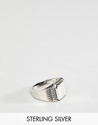 Asos Design Sterling Silver Smart Signet Ring With Emboss