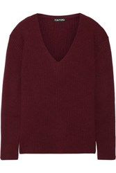 Tom Ford Ribbed Cashmere Sweater Burgundy