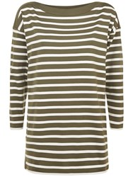 Jaeger Cotton Boat Neck Striped Tunic Top Khaki