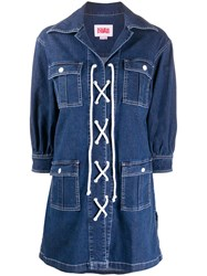 Solid And Striped Lace Up Denim Shirt Dress 60