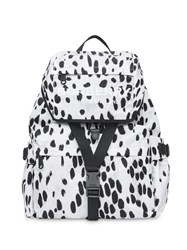 Burberry Logo And Dalmatian Print Nylon Backpack White
